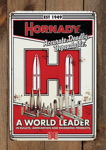 "Hornady #99101 Vintage Blechschild ""Accurate. Deadly. Dependable."""